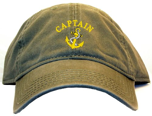 Captain with Ships Anchor Embroidered Low Profile Ball Cap - Olive Green (Anchor Ball Cap)
