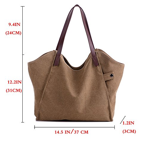 FiveloveTwo Handbag Shoulder Canvas Shopper Crossbody Tote Handle Women Top Hobo Casual Coffee Bag RxBYwrRfXq