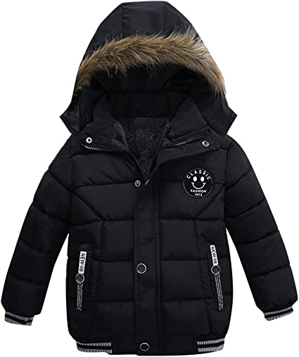 Kids Boys Girls Faux Fur Lined Hooded Padded Quilted Coats Winter Warm Jackets