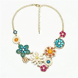 Fashion Colorful Flower Beaded Festoon Lavalier Y Bib Choker Collar Gold Necklace