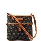 Dooney and Bourke Shadow DB Letter Carrier, Black/Black/Gold w/ Natural Tr, Bags Central