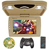 Rockville RVD13HD-BG BEIGE 13 Flip Down Car Monitor w DVD/HDMI/USB/SD/Games Tan