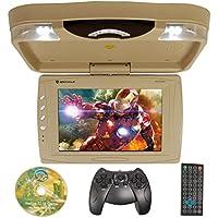 Rockville RVD13HD-BG BEIGE 13 Flip Down Car Monitor w DVD/HDMI/USB/SD/Games Tan
