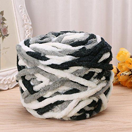 Super Bulky Knitting Patterns - Amrka 100g/1ball Soft Cotton Hand Knitting Yarn Super Chunky Bulky Woven Worested Yarn for Crochet (Black & White)