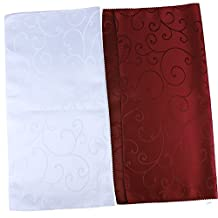Ieasycan Holiday Gatherings White Paisley Cloth Napkins, Set of 6 Laundered Polyester Tea Towels, 20X20