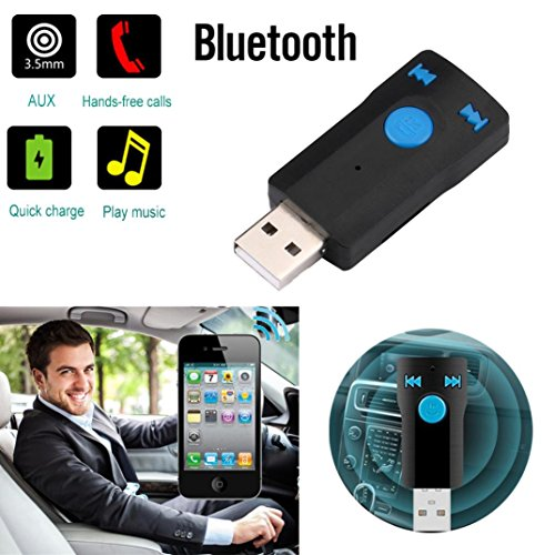 Iusun Wireless Car Kit AUX Audio USB Receiver Adapter Support SD Card Handsfree For Laptop Phone MP3 (Black)