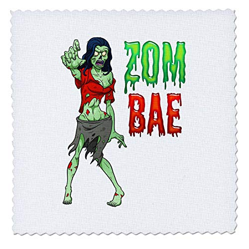3dRose Carsten Reisinger - Illustrations - Zombae Funny Halloween Zombie Woman - 22x22 inch Quilt Square (qs_294850_9) -