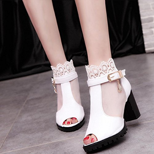 Zipper Platform Shoes Wrap Sandals White Back Womens Inkach Heeled Summer Transparent with High Sandals Ankle ORpU4xq