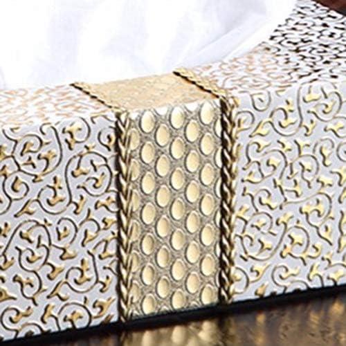CUHAWUDBA Auto Nach Hause Rechteck Geformt Taschent/üCher Box Haushalt Wohnzimmer Desktop Serviette Taschentuch Halter Weiss /& Gold