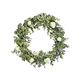 FAVOWREATH 2018 Vitality Series FAVO-W96 Handmade 14 inch Green Leaf,Roses Grapevine Wreath Summer/Fall Festival Celebration Front Door/Wall/Fireplace Everyday Nearly Natural Home Hanger Decor