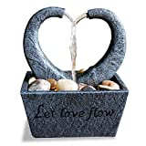 water and rock fountain - Nature's Mark Flowing Heart LED Relaxation Water Fountain with Authentic River Rocks