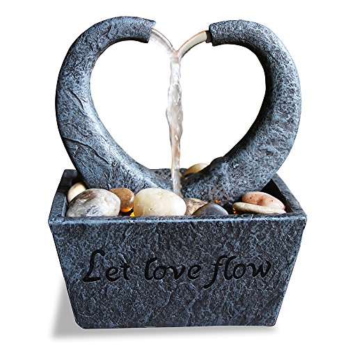 Nature's Mark Flowing Heart LED Relaxation Water Fountain with Authentic River Rocks (Aluminum Fountains Water)