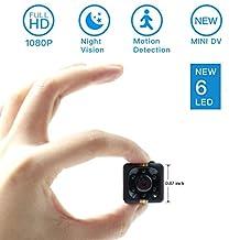 Mini Spy Hidden Camera, Moosoo 1080P/720P Full HD New 6 LED Infrared Night Vision Motion Detection Portable Recorder Home Surveillance Camera Nanny Cam Pet Baby Camera DV Matte Black