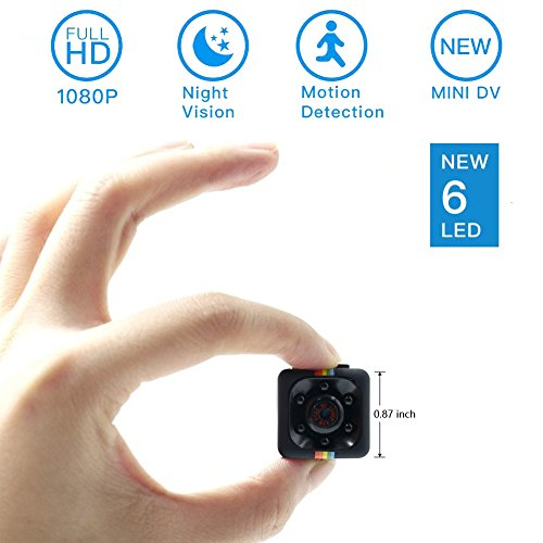 Mini Spy Hidden Camera, Moosoo 1080P/720P Full HD Matte Black 6 LED Infrared Night Vision Motion Detection Portable Recorder Home Surveillance Camera Nanny Cam Pet Baby Camera DV (Device Spy)