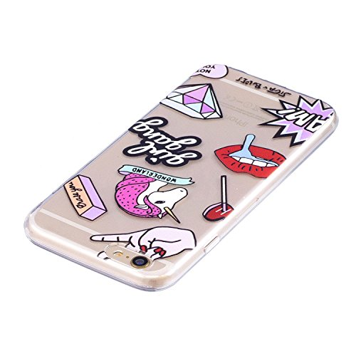 iPhone 6 / 6S Plus Custodia , Leiai Moda Ging gang Trasparente Silicone Morbido TPU Cover Case Custodia per Apple iPhone 6 / 6S Plus