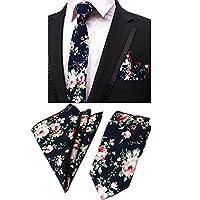 Men's Cotton Floral Necktie & Pocket Square Set Wedding Party Long Tie