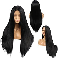 """Ivan Cosmetic 250% Density Lace Front long Natural Straight Wigs Glueless With Baby Hair Pre Plucked Hairline Kanekalon Synthetic Fiber High Temerature Resistant For All Skins Women.(Black,24"""")"""