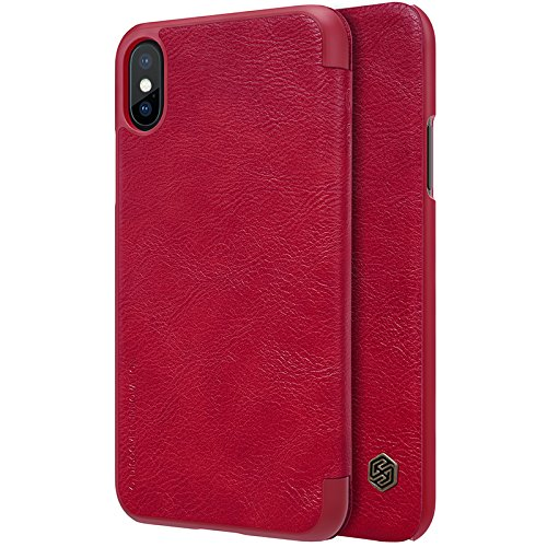 Nillkin Case for Apple iPhone Xs (5.8″ Inch) Qin Genuine Classic Leather Flip Folio PC with Card Slot Red Color