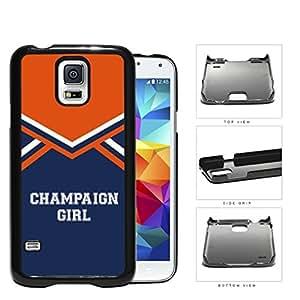 Champaign City Girl School Spirit Cheerleading Uniform Samsung Galaxy S5 SM-G900 Hard Snap on Plastic Cell Phone Cover