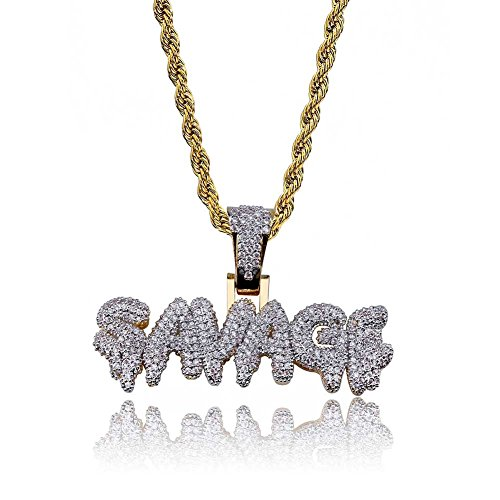 HECHUANG Micropave Simulated Diamond Iced Out Custom Bubble Letters SAVAGE Dripping Initial Pendant with Rope Chain Hip Hop Necklace (Gold, 24) by HECHUANG