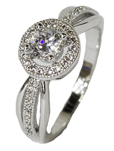 - Women's Rhodium Plated Dress Ring Ornate Round Cut CZ 046 (6)