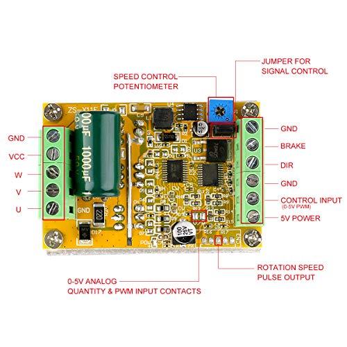 DC Brushless Motor Controller, Yeeco DC 6.5 50V 350W Brushless DC Motor Speed Regulator Control Module 12V 24V 36V 48V High Power BLDC Speed Motor