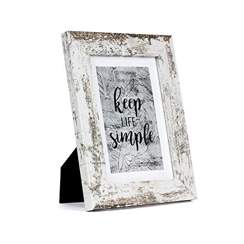 Home&Me 5x7 Rotten White Picture Frame - Made to Display Pictures 4x6 with Mat or 5x7 Without Mat - Wide Molding - Wall Mounting Material Included