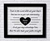 Proverbs 3:5-6 – Trust in the Lord with all your heart He will make your paths straight – Floating Scripture Bible Verse Christian Religious