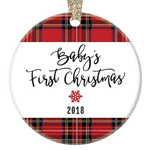 68ba36abcbf9 Amazon.com  Baby Boy s First Christmas Ornament 2018 Handsome Red Plaid  Newborn Male Son Infant Grandson Porcelain Family Keepsake 1st Holiday 3