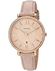 Fossil Womens Jacqueline Quartz Stainless Steel and Leather Casual Watch, Color:Beige (Model: ES4292)