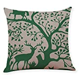 Pgojuni Cotton Linen Square Home Decorative Throw Pillow Case Sofa Waist Cushion Cover Sofa/Couch 1pc 45X45 cm (G)