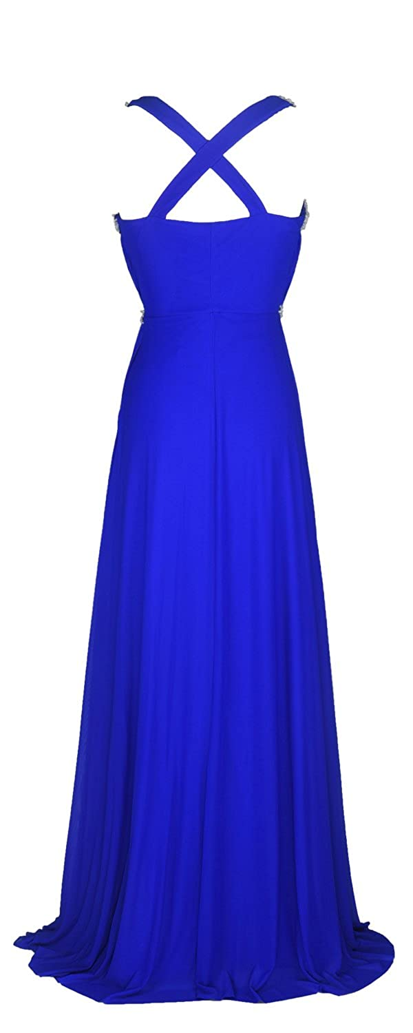 conail Coco Women Ruched Waist Rhinestone Casual Formal Long Wedding Bridesmaid Dress 6002