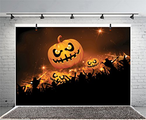 Leyiyi 8x6ft Photography Background Happy Halloween Party Backdrop Gothic Pumpkin Lamps Terror Costume Festival Wallpaper Sparkle Stars Widow Witch Hats Carnival Night Photo Portrait Vinyl Studio Prop ()