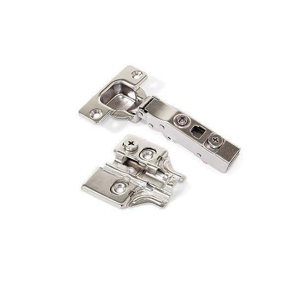 Emuca 1014907 Pack de 2 bisagras de cazoleta /Ø35mm 165/° cierre suave para puerta solapada y suplementos para atornillar con regulaci/ón exc/éntrica