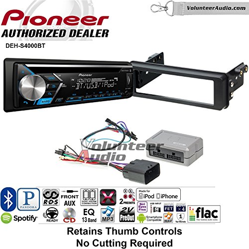 Xm Pioneer Aux Input - Volunteer Audio Pioneer DEH-S4000BT Double Din Radio Install Kit with Bluetooth, CD Player, USB/AUX Fits 1998-2013 Harley Davidson Electra Glide, Road Glide, Street Glide