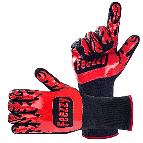 Feezzy BBQ Gloves 932°F Extreme Heat Resistant Oven Gloves For Cooking, Grilling, Baking - Extra Long - Gloves Heat High Resistant