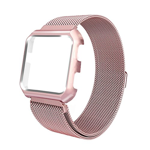 iTerk For Fitbit Versa Bands With Frame,Milanese Mesh Loop Stainless Steel Metal Replacement Wristband Bracelet Strap Magnetic Buckle Protective Case Bumper