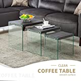 Black Coffee Table Sets Mecor Nesting Table Set of 3 Glass Side End Coffee Table Wood Top Living Room Furniture Black Walnut