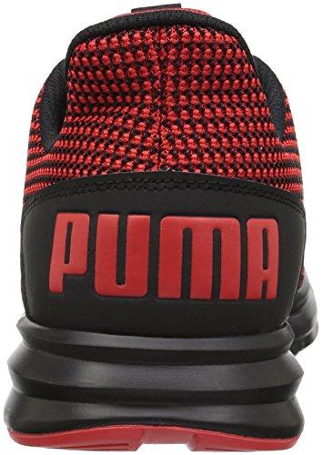 Puma Mens Enzo Rue Tricot Sneaker Flamme Écarlate-puma Noir