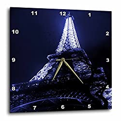 3dRose dpp_125028_2 Close Up of The Paris Eiffel Tower with a Blue Tint Wall Clock, 13 by 13