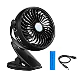 VERKB USB Clip Table Desk Air Fan, Rechargeable Battery, Mini Portable Personal Fan High Compatibility and Speed, 720° Adjustable for Outdoor/Indoor Baby Stroller, Home, School, Office, Camping