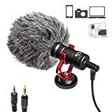 Viecam BOYA BY-MM1 Shotgun 3.5 mm Universal Cardioid Recording Microphone | Wroks with iPhone, Android Smartphone, Canon, Nikon, DSLR Cameras, camcorders, PCs and Mac