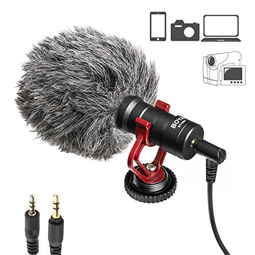 Viecam BOYA BY-MM1 Shotgun 3.5 mm Universal Cardioid Recording Microphone | Wroks with iPhone, Android Smartphone, Canon, Nikon, DSLR Cameras, camcorders, PCs and Mac by Viecam