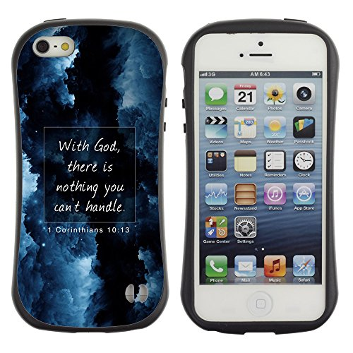 DREAMCASE Citation de Bible Silicone et Rigide Coque Protection Image Etui solide Housse T¨¦l¨¦phone Case Pour APPLE IPHONE 5 / 5S - WITH GOD THERE IS NOTHING YOU CAN'T HANDLE - CORINTHIANS 10:13