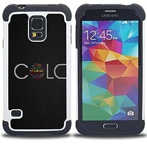 For Samsung Galaxy S5 I9600 G9009 G9008V - Red Blue Pink Green Colors Life Quote Symbol /[Hybrid 3 en 1 Impacto resistente a prueba de golpes de protecci????n] de silicona y pl????stico Def/ - Super Marl