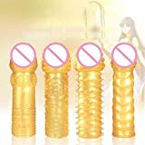 Lovepan 4pcs Golden Extra Fun Time Delay Crystal Penis Sleeves Cock Rings Condoms for Men, Adult Erotic Sex Toys for Couple