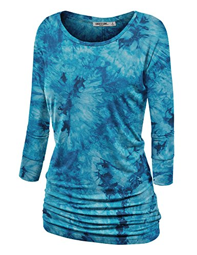 Lock and Love WT1059 Womens Round Neck 3/4 Sleeve Tie Dye Drape Top with Side Shirring L - Neck Top Drape Sleeve