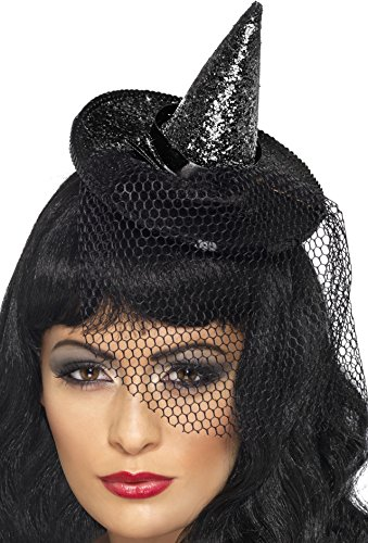 Smiffy's Women's Mini Glitter Witches Hat, Black, One Size, 23036 (Mini Witch Hat)
