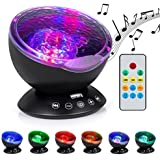 Boomile Ocean Wave Projector for Baby, 12 LED &7 Colors Night Lighting Light with Built-in Mini Music Player, Remote Control Music for Baby/ Kids/ Children(Black)