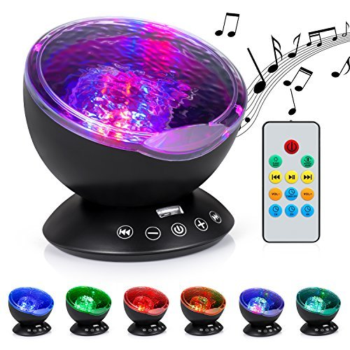 Am Private Music - Boomile Ocean Wave Projector for Baby, 12 LED &7 Colors Night Lighting Light with Built-in Mini Music Player, Remote Control Music for Baby/ Kids/ Children(Black)